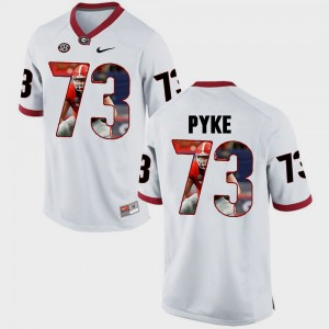 #73 Greg Pyke Georgia Bulldogs For Men Pictorial Fashion Jersey - White