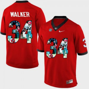#34 Herschel Walker Georgia Bulldogs Pictorial Fashion Men Jersey - Red