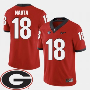 #18 Isaac Nauta Georgia Bulldogs College Football 2018 SEC Patch For Men Jersey - Red