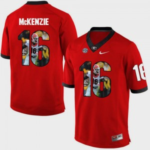 #16 Isaiah McKenzie Georgia Bulldogs Mens Pictorial Fashion Jersey - Red