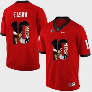 #10 Jacob Eason Georgia Bulldogs Pictorial Fashion For Men's Jersey - Red