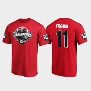 #11 Jake Fromm Georgia Bulldogs 2019 SEC East Football Division Champions Mens T-Shirt - Red