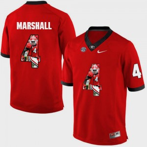 #4 Keith Marshall Georgia Bulldogs For Men's Pictorial Fashion Jersey - Red