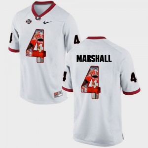 #4 Keith Marshall Georgia Bulldogs Pictorial Fashion Men Jersey - White