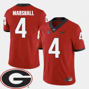 #4 Keith Marshall Georgia Bulldogs Men's 2018 SEC Patch College Football Jersey - Red