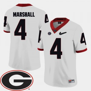 #4 Keith Marshall Georgia Bulldogs Mens College Football 2018 SEC Patch Jersey - White