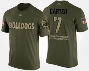 #7 Lorenzo Carter Georgia Bulldogs Military Mens Short Sleeve With Message T-Shirt - Camo