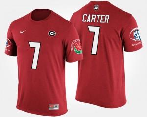 #7 Lorenzo Carter Georgia Bulldogs Bowl Game For Men Southeastern Conference Rose Bowl T-Shirt - Red