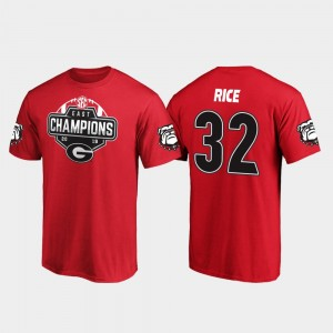 #32 Monty Rice Georgia Bulldogs 2019 SEC East Football Division Champions Men T-Shirt - Red