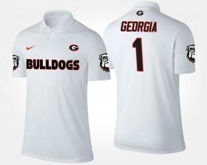 #1 Georgia Bulldogs For Men No.1 Short Sleeve Polo - White