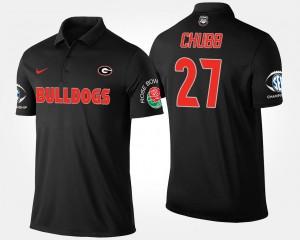 #27 Nick Chubb Georgia Bulldogs Men's Bowl Game Southeastern Conference Rose Bowl Polo - Black