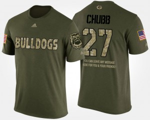 #27 Nick Chubb Georgia Bulldogs Short Sleeve With Message Military For Men's T-Shirt - Camo