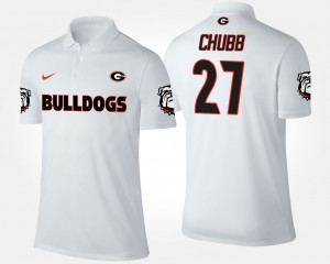 #27 Nick Chubb Georgia Bulldogs For Men's Polo - White