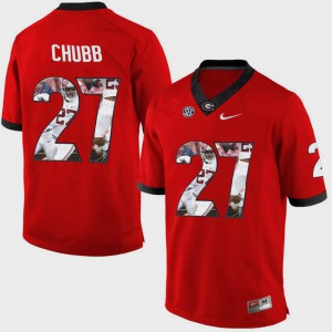 #27 Nick Chubb Georgia Bulldogs Pictorial Fashion For Men Jersey - Red