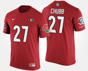 #27 Nick Chubb Georgia Bulldogs Bowl Game For Men's Southeastern Conference Rose Bowl T-Shirt - Red