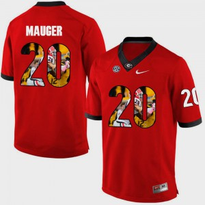 #20 Quincy Mauger Georgia Bulldogs Pictorial Fashion Mens Jersey - Red