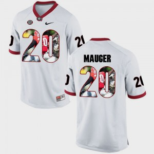 #20 Quincy Mauger Georgia Bulldogs For Men Pictorial Fashion Jersey - White