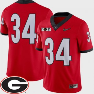 #34 Georgia Bulldogs For Men's College Football 2018 National Championship Playoff Game Jersey - Red