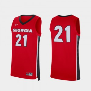 #21 Georgia Bulldogs For Men Replica College Basketball Jersey - Red