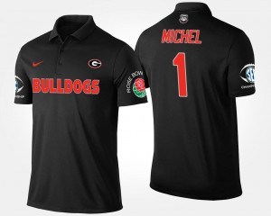 #1 Sony Michel Georgia Bulldogs For Men Bowl Game Southeastern Conference Rose Bowl Polo - Black