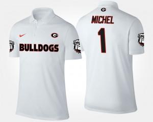 #1 Sony Michel Georgia Bulldogs For Men's Polo - White