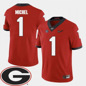 #1 Sony Michel Georgia Bulldogs College Football 2018 SEC Patch Mens Jersey - Red