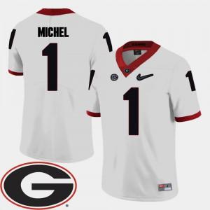#1 Sony Michel Georgia Bulldogs College Football 2018 SEC Patch For Men Jersey - White
