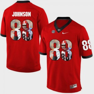 #88 Toby Johnson Georgia Bulldogs Men Pictorial Fashion Jersey - Red