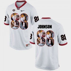 #88 Toby Johnson Georgia Bulldogs Pictorial Fashion Men's Jersey - White