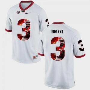 #3 Todd Gurley II Georgia Bulldogs For Men Pictorial Fashion Jersey - White