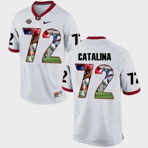 #72 Tyler Catalina Georgia Bulldogs Pictorial Fashion Mens Jersey - White