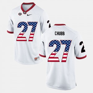 #27 Nick Chubb Georgia Bulldogs Men US Flag Fashion Jersey - White