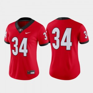 #34 Georgia Bulldogs Women College Football Game Jersey - Red