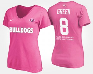 #8 A.J. Green Georgia Bulldogs For Women With Message T-Shirt - Pink