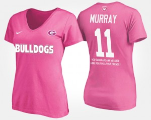 #11 Aaron Murray Georgia Bulldogs For Women's With Message T-Shirt - Pink