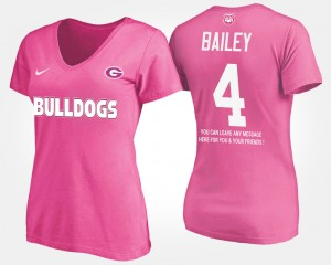 #4 Champ Bailey Georgia Bulldogs With Message For Women's T-Shirt - Pink