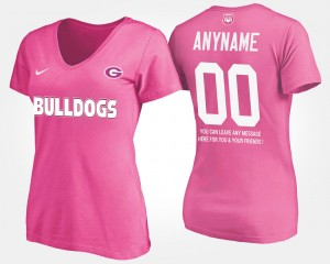 #00 Georgia Bulldogs Womens With Message Customized T-Shirts - Pink