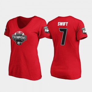 #7 D'Andre Swift Georgia Bulldogs V-Neck 2019 SEC East Football Division Champions Womens T-Shirt - Red