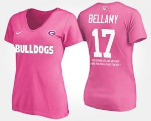 #17 Davin Bellamy Georgia Bulldogs With Message Women's T-Shirt - Pink