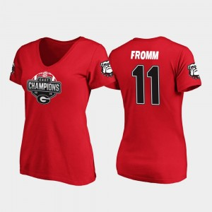 #11 Jake Fromm Georgia Bulldogs For Women's V-Neck 2019 SEC East Football Division Champions T-Shirt - Red