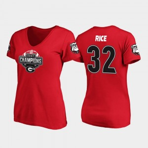 #32 Monty Rice Georgia Bulldogs 2019 SEC East Football Division Champions For Women V-Neck T-Shirt - Red